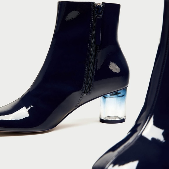 Vegan Patent Leather Clear Heel Boot